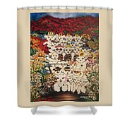 Flying Lamb Productions          Harmony Creative Village Group Portrait Shower Curtain
