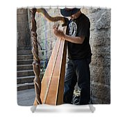 Harpist Street Musician, Barcelona, Spain Shower Curtain