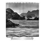 Harris Beach Oregon Monochrome Shower Curtain