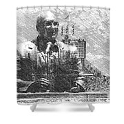 Harry Caray Statue With Historic Wrigley Scoreboard Bw Shower Curtain