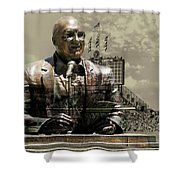 Harry Caray Statue With Historic Wrigley Scoreboard In Heirloom Shower Curtain