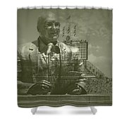 Harry Caray Statue With Historic Wrigley Scoreboard Shower Curtain