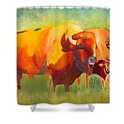 Hartsel Bison Family In Springtime Shower Curtain
