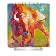 Hartsel Bison In Springtime Shower Curtain