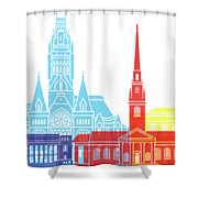 Harvard Ma Skyline Pop Shower Curtain