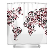 Harvard University Colors Swirl Map Of The World Atlas Shower Curtain