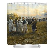 Harvest Festival By Alfred Wierusz-kowalski 1849-1915 Shower Curtain