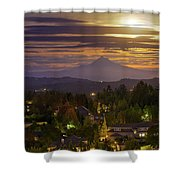 Harvest Moon 2016 Moonrise Over Happy Valley Oregon Shower Curtain