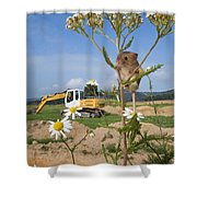 Harvest Mouse And Backhoe Shower Curtain