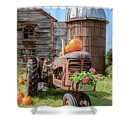 Harvest Time Vintage Farm With Pumpkins Shower Curtain