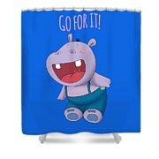 Harvey Hippo Go For It Lt Shower Curtain