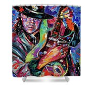 Hat And Guitar Shower Curtain by Debra Hurd