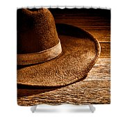Hat - Sepia Shower Curtain