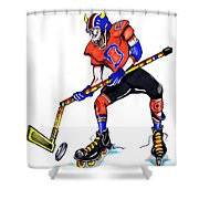 Hat Trick Hockey Player Shower Curtain