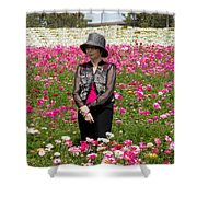 Hatted Lady In A Field Shower Curtain