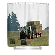 Hauling Hay At Dusk Shower Curtain