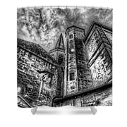 Haunted Church In Black And White Shower Curtain