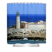 Havana Harbor Lighthouse Shower Curtain