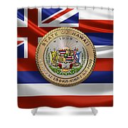 Hawaii Great Seal Over State Flag Shower Curtain