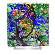 Hawaii Shower Tree Flowers In Abstract Shower Curtain