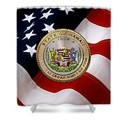 Hawaii State Seal Over U.s. Flag Shower Curtain
