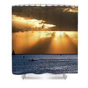 Hawaii Sunset Panorama Shower Curtain