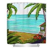 Hawaii Tropical Beach Art Prints Painting #418 Shower Curtain