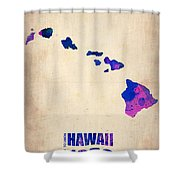 Hawaii Watercolor Map Shower Curtain by Naxart Studio