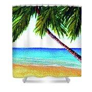 Hawaiian Beach Palm Trees  #425 Shower Curtain