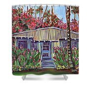 Hawaiian Cottage With Pink And Red Tropical Flowers Shower Curtain