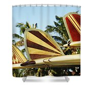 Hawaiian Design Surfboards Shower Curtain by Vince Cavataio - Printscapes