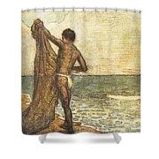 Hawaiian Fisherman Painting Shower Curtain