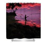 Hawaiian Fishing On Halama Beach At Sunset Shower Curtain