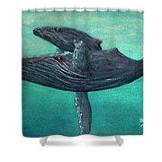 Hawaiian Humpback Whales #455 Shower Curtain