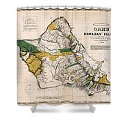 Hawaiian  Islands Map 1881 Shower Curtain