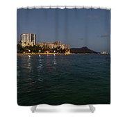 Hawaiian Lights - Waikiki Beach And Diamond Head Volcano Crater Shower Curtain