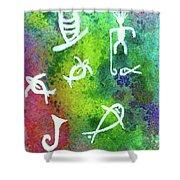 Hawaiian Petroglyph Prints #219 Shower Curtain