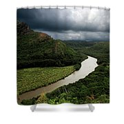 Hawaiian River With Kayakers Shower Curtain