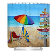 Hawaiian Sign Posts To Paradise Shower Curtain