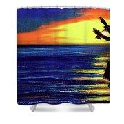 Hawaiian Sunset With Hula Dance  #183, Shower Curtain