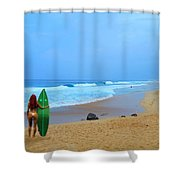 Hawaiian Surfer Girl Shower Curtain