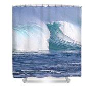 Hawaiian Winter Waves Shower Curtain