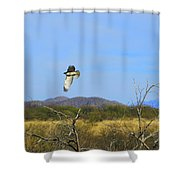 Hawk In Flight Over The Desert Shower Curtain