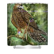 Hawk In The Evergreens Shower Curtain by Darren Cannell