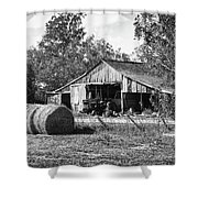 Hay And The Old Barn - Bw Shower Curtain