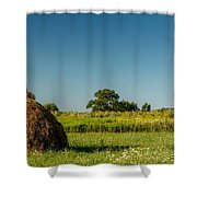 Hay Bale On A Rural Field Shower Curtain