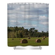 Hay Bale Pano Shower Curtain