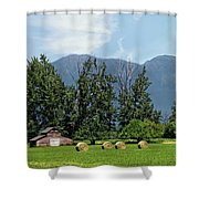 Hay Bales And A Barn - Kalispell Montana Shower Curtain