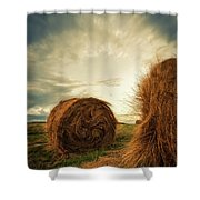 Hay Bales On Farm Field Shower Curtain