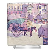 Hay Carts - Cumberland Market Shower Curtain